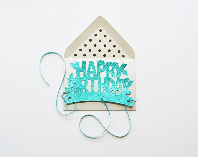 Teal Happy Birthday Glitter Crown Card