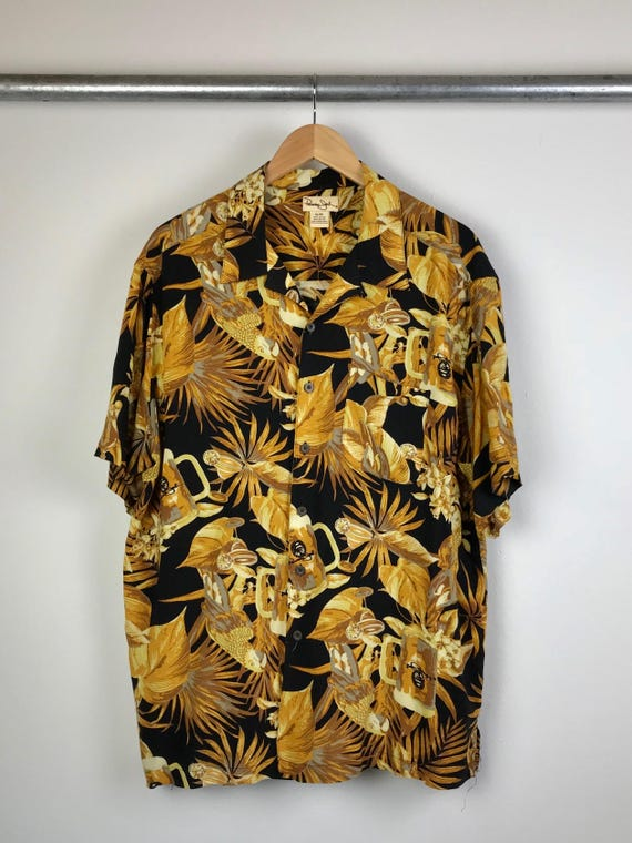 Vintage Men's Hawaiian Shirt with Beer and Margarita Print Extra Large