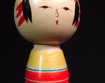 Vintage Kokeshi Wooden Japanese Doll Yajiro School Artist Signed Hand Painted & Box