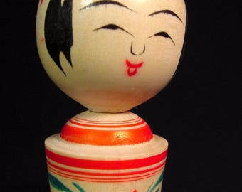 Vintage Kokeshi Doll Traditional School Naruko Artist Signed w/Box & Paper Red