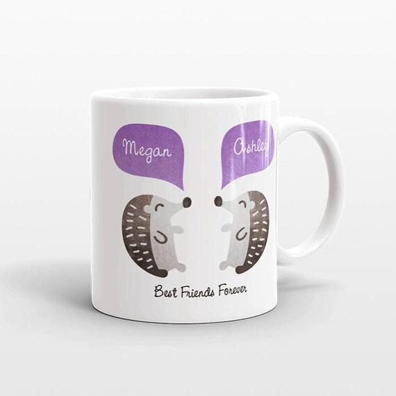 Best Friend Gift, Hedgehog Mug, Personalized Best Friend Mug, Animal Best Friend Coffee Mug, Unique Friendship Gift, Friend Birthday Gift