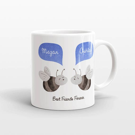 Best Friend Gift, Bee Mug, Personalized Best Friend Mug, Animal Best Friend Coffee Mug, Unique Friendship Gift Best Friend Birthday Gift