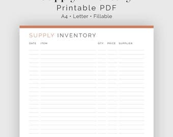 Supply Inventory Log - Fillable - Printable PDF - Business Planner - Instant Download