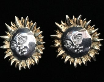 """Vintage Two-Tone Silver """"Sun Face"""" Earrings Signed by Sergio Bustamante (Tier 2)"""