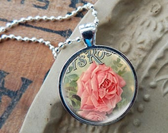 Pink Rose Pendant, Pink Rose Necklace, Vintage Rose Glass Art Pendant, Shabby Rose Pendant, Shabby Rose Necklace, Rose Jewelry
