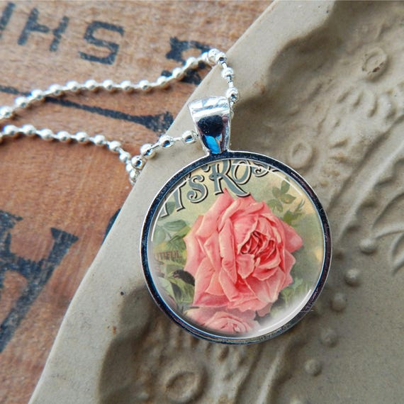 Pink rose pendant pink rose necklace vintage rose glass art like this item audiocablefo light ideas