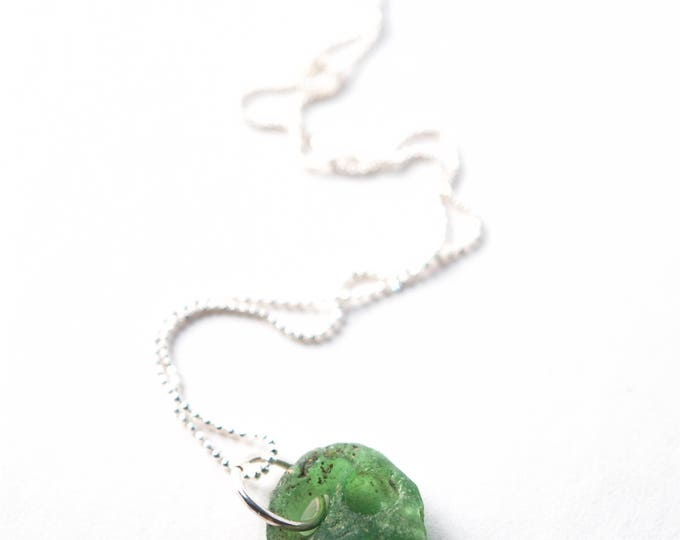 "Green Bonfire Sea Glass Necklace on a 925 Sterling Silver Diamond Cut Bead Chain with a Sterling Silver Lobster Clasp, Your Choice 16""-24"""