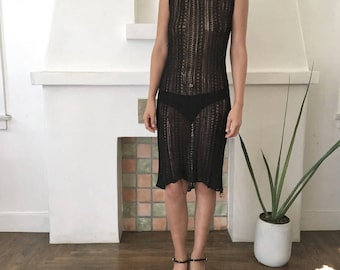 VTG 1990s Designer CLAUDE BARTHELEMY Deconstructed Gothic Fish Net Knitted Sheer Tank Dress