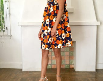 VTG 1960s 70s Bright Orange Navy and White Abstract Floral Print Babydoll Dress Cover Up