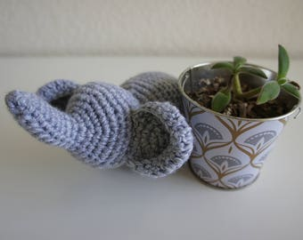 Amigurumi Crochet Stuffed Elephant, Gray