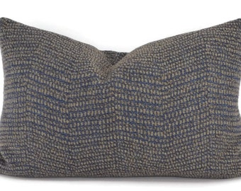 Blue & Gray Textured Chevron Lumbar Throw Pillow, 14x22