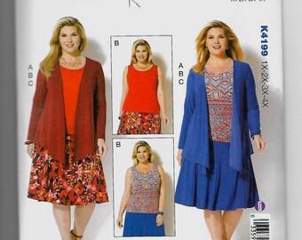 K4199 Kwik Sew Jacket, Tank Top, and Skirt Sewing Pattern Sizes 1X-2X-3X-4X