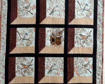 Wild birds wall hanging, nature wall quilt, wildlife quilt, robbins, chickadees, blue, brown, quiltsy handmade, free shipping
