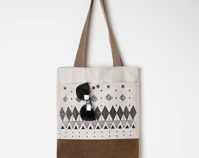 Wax Canvas Tote - Screen print design