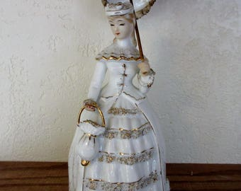 Vintage lefton VICTORIAN LADY with a PARASOL trimmed in Gold and Spaghetti 1950s #KW1571