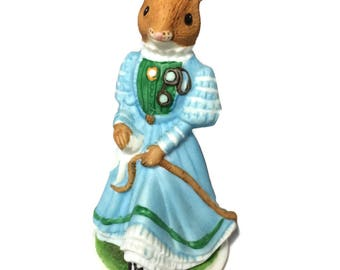 1985 Woodhouse Mouse Franklin Mint Winsome, mouse figurine, collectible mouse (M55)