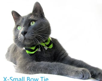 Green and Black Chevron Bow Tie, Necktie, or Bow on a Shirt Style Collar for both Dogs & Cats