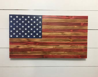 American Flag Wood American Flag - American Flag - Rustic Wood American Flag - Wooden American Flag - Distressed Flag - Wood Burnt Flag
