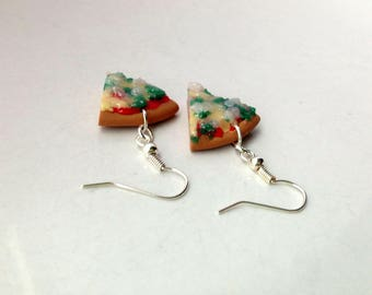 Spinach and Ricotta Vegetarian Pizza Earrings Polymer Clay Miniature Food Jewelry Pizza Slice Food Gift for Her