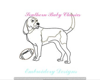 Hound Dog Football Vintage Bean Quick Stitch Line Work Design File for Embroidery Machine Instant Download Cute Baby Boy Girl Tennessee