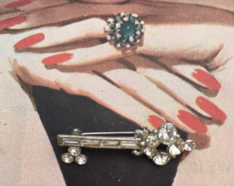 Jeweled Key Brooch -- Delicate and Sparkly!