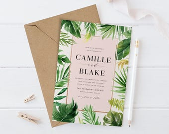 Tropical Wedding Invitation Set, Printable Destination Wedding Suite,Greenery Wreath Wedding Invite, Green Leaves, Palm Banana Leaf, Light