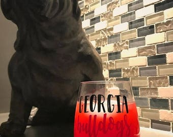 Georgia Bulldogs // UGA // Go Dawgs  15 Oz Wine Glass Tumbler
