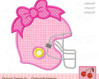 Football Helmet with bow Sports Machine Embroidery Applique Design for girls SPORT029 - for 4x4, 5x7 and 6x10 hoop