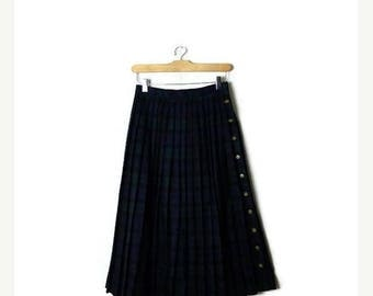 ON SALE Vintage Dark Green/Blue Tartan Plaid  Wool  Pleated Skirt from 1980's/W24*