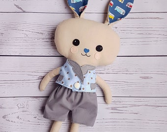 Boy bunny-Softy-For boys-Car pattern-Rabbit-Animal toy-Present for Easter-Plush-Gift-Softy-Cute-Sweet-Friend-Birthday-Dress up doll
