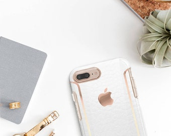 Arctic White Alligator Leather iPhone Case and Rose Gold Detailing - Otterbox Symmetry   / iPhone 7 / iPhone 8 / iPhone X - Platinum Edition