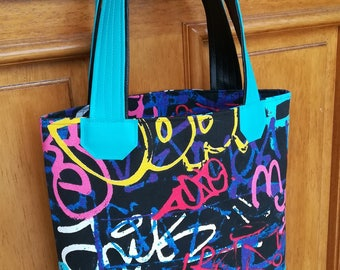 Black and blue pattern tote bag colorful graffiti