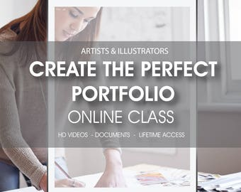 50% OFF SALE Create the perfect Portfolio online class, online workshop, artist and illustrator workshop, Create the best Portfolio