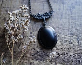 Black Onyx Ornate Brass Necklace - Victorian Black Necklace - Minimalist Necklace