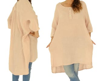 IA300RA ladies linen tunic shirt vintage gowns short sleeve oversize pink Gr. 38 40 42 44 46 48
