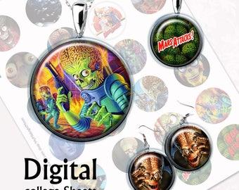 Mars Attacks Bottlecap Digital Collage Sheet  1,5 inch, 1 inch, 15 mm Jewelry Supplies, Bottle Caps, Crafts, Scrapbooking