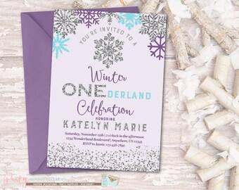 Winter Birthday Invitation, ONEderland Birthday Invitation, Snowflake Birthday Invitation, Winter Onederland Invitation, Purple and Silver