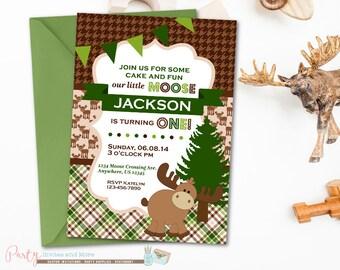 Moose Birthday Invitation, Little Moose Invitation, Woodland Birthday Inviation, Houndstooth Birthday Invitation