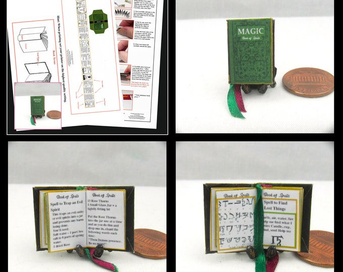 MAGIC Book Of SPELLS Book PDF and Tutorial Printie Printable Download 1:12 Miniature Dollhouse Scale Book Miniature Accessory