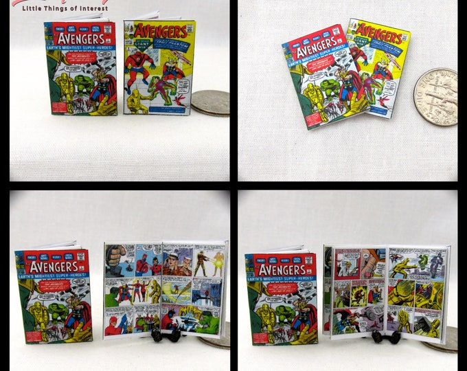 2 Miniature THE AVENGERS COMIC Books Dollhouse Comic 1:12 Scale **2 For 1**  Thor Hulk Iron Man Ant Man Earths Greatest Super Heros Marvel