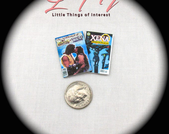 2 Miniature HERCULES & XENA COMIC Books Dollhouse 1:12 Scale **2 For 1** Topps Comics Marriage of Xena Hercules Xena Warrior Princess Magic