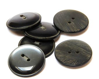 Set of 6 Shiny Grey Buttons · Grey Buttons · Set of Buttons