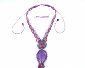 Micro macrame and gemstone - purple - ref C. 0112 necklace