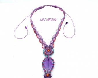 Micro macrame and gemstone - purple - ref C. 0112 necklace