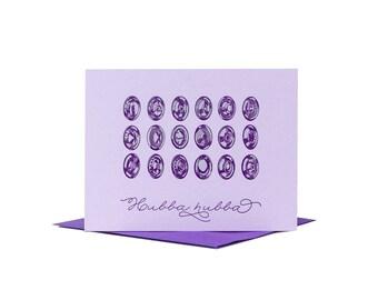 Hubba Hubba Valentine / Letterpress Card / Anniversary Card / Funny Valentine / Retro Design / Typographic Design / Letterpress Valentine