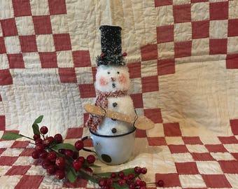 Primitive Snowman in Tin Enamel Cup