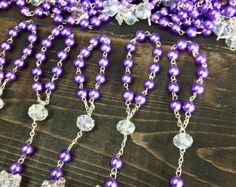 25 pcs Angel Decade Rosaries, Mini Rosaries, Baptism, First communion favors Recuerditos Bautizo 25pz/ Mini Pearl Rosary Baptism Favors