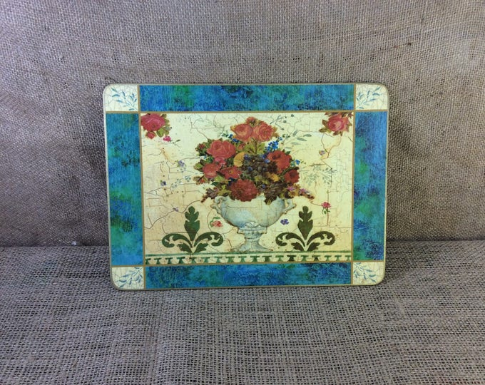 Vintage place mats, Cloverleaf from the UK Anique Floral pattern,great gift,  Jan Pashley designed set of six placmats with cork backing