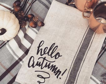 hello autumn kitchen towel; fall kitchen decor; fall kitchen towel; fall home decor; fall tea towel