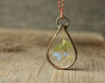 glass drop flower necklace, nature lovers gift, boho pendant, delicate terrarium necklace, summer jewelry